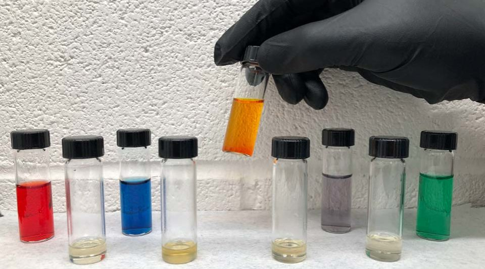 Different colored samples in vials