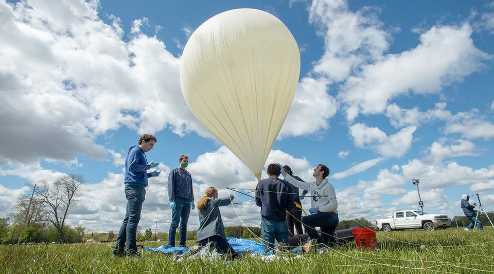 IrishSat students preparing balloon and payload for launch