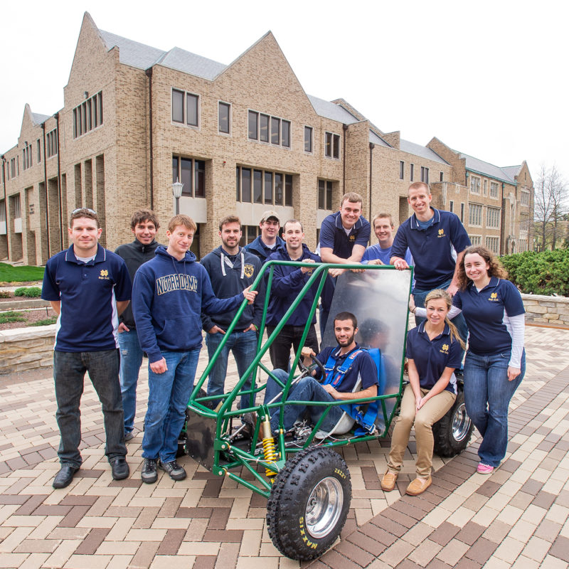 Baja Club team with cart in front of Fitzpatrick Hall