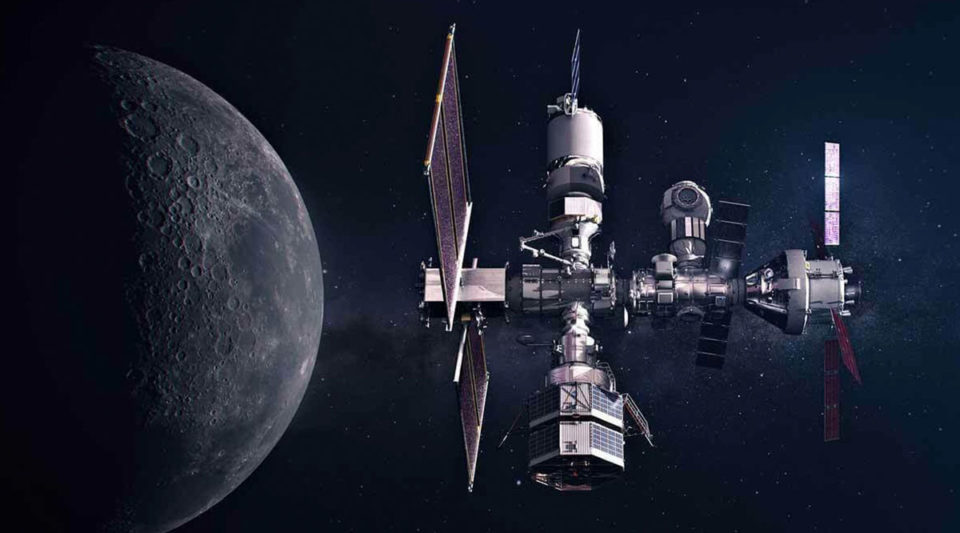 The Gateway Concept Spaceship rendering surrounded by space, the moon to the left.